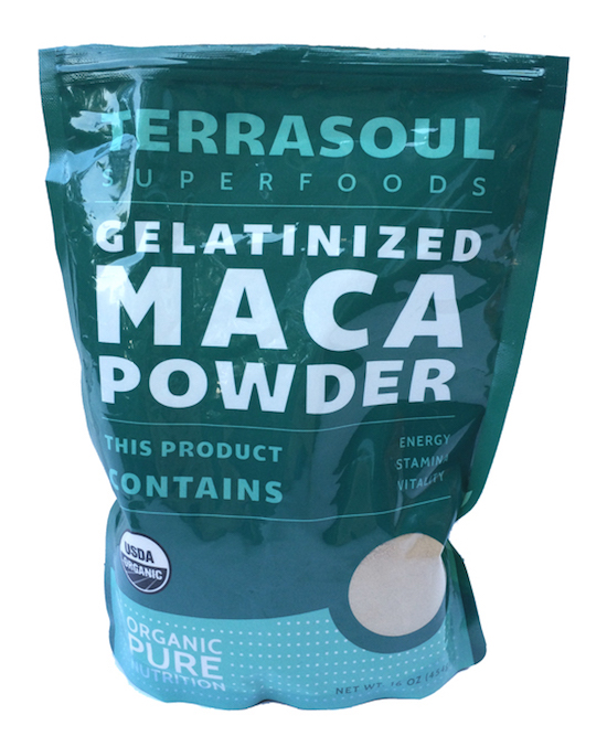 Raw maca gelatinized powder